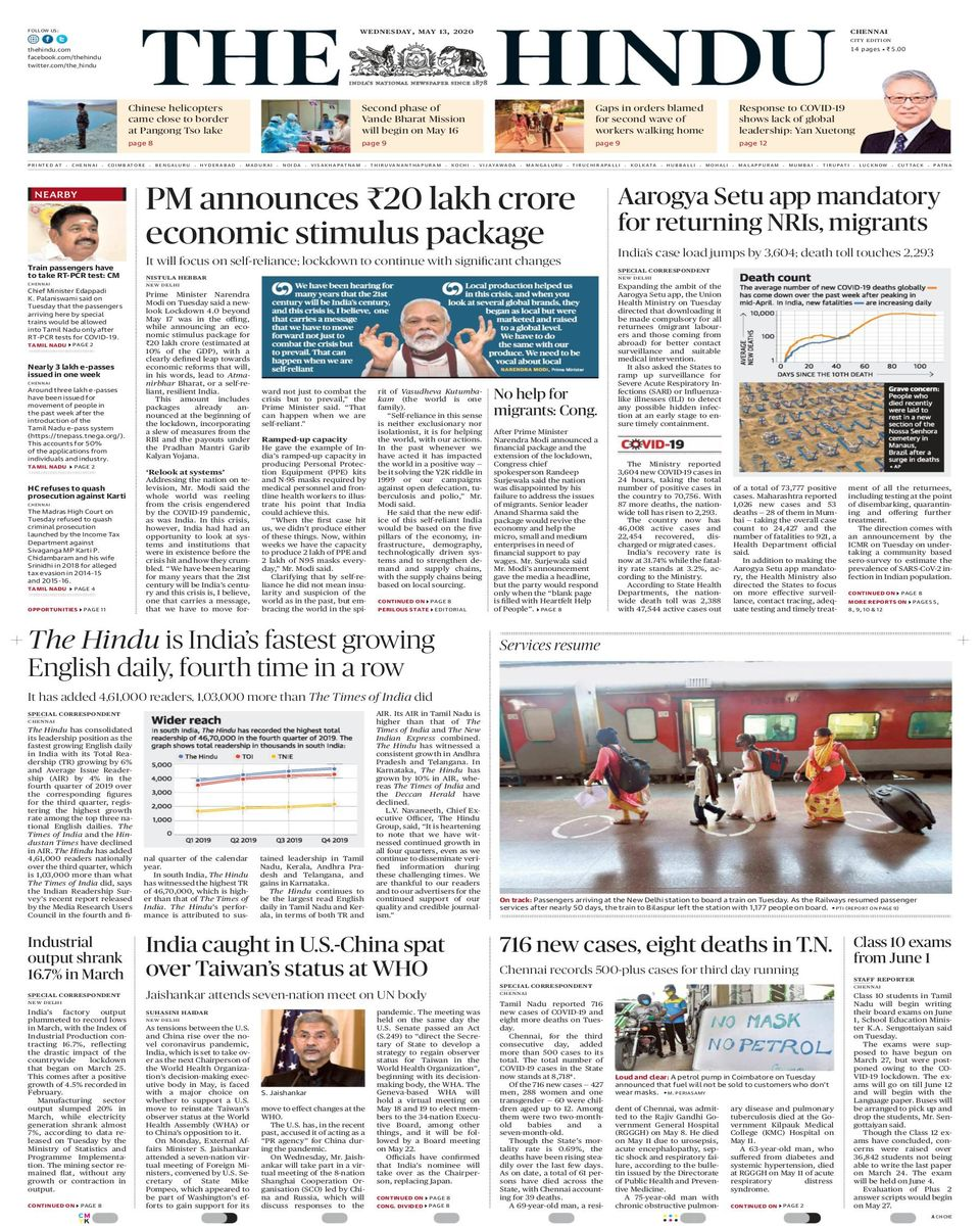 The Hindu-May 13, 2020 Newspaper - Get your Digital Subscription