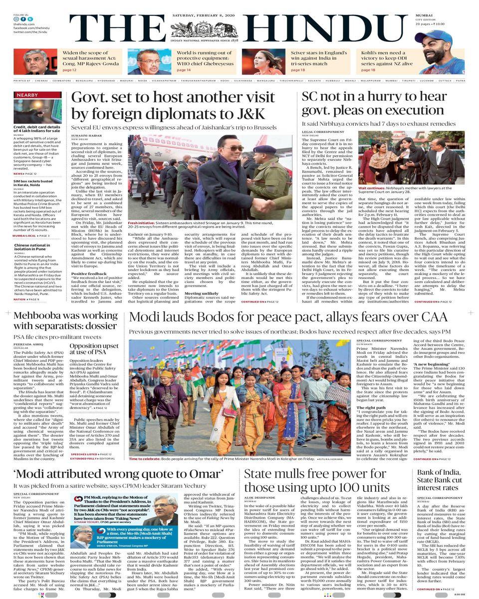 Get Your Digital Copy Of The Hindu Mumbai February 08 2020 Issue