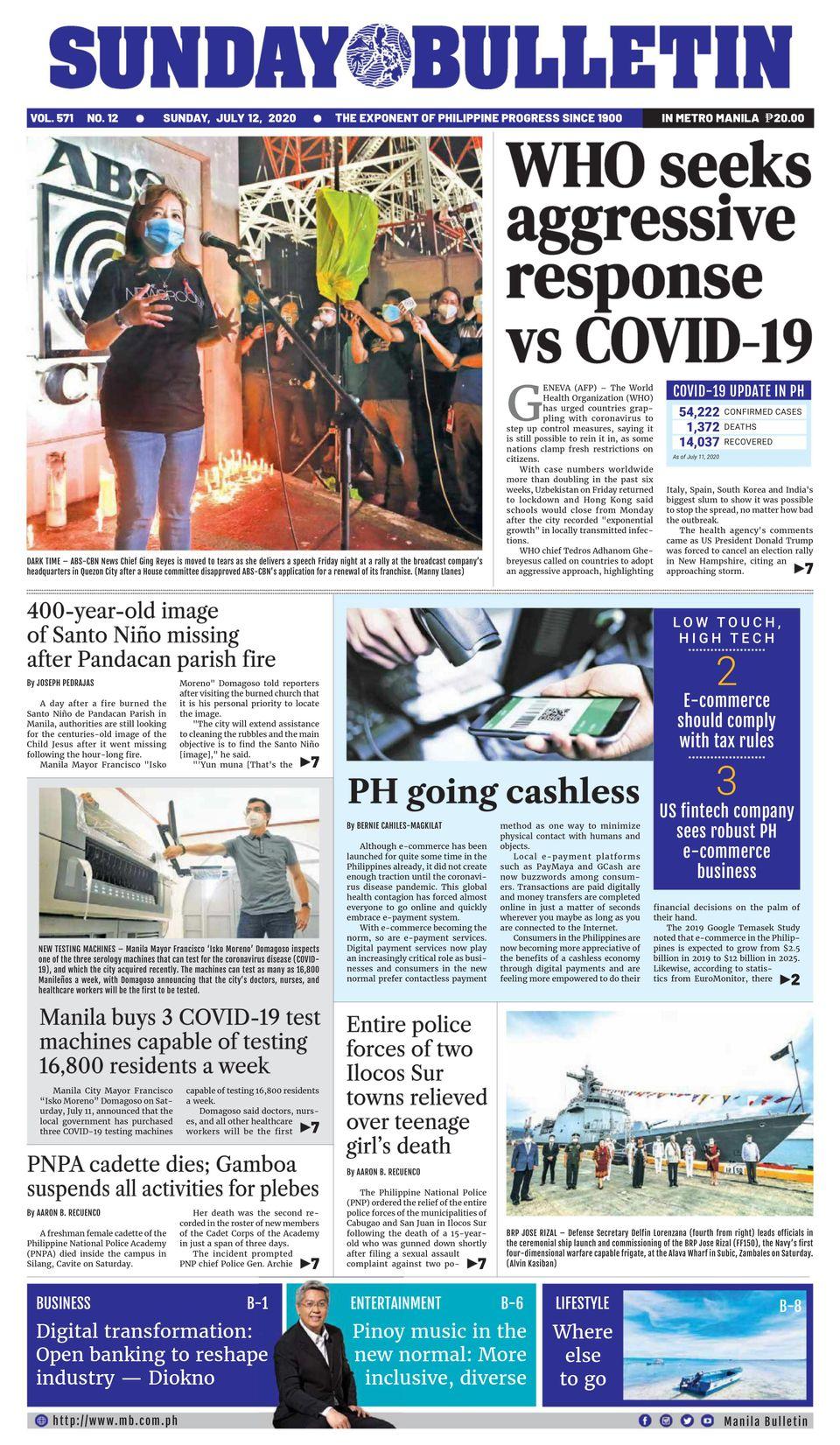 Manila Bulletin-July 12, 2020 Newspaper - Get your Digital ...