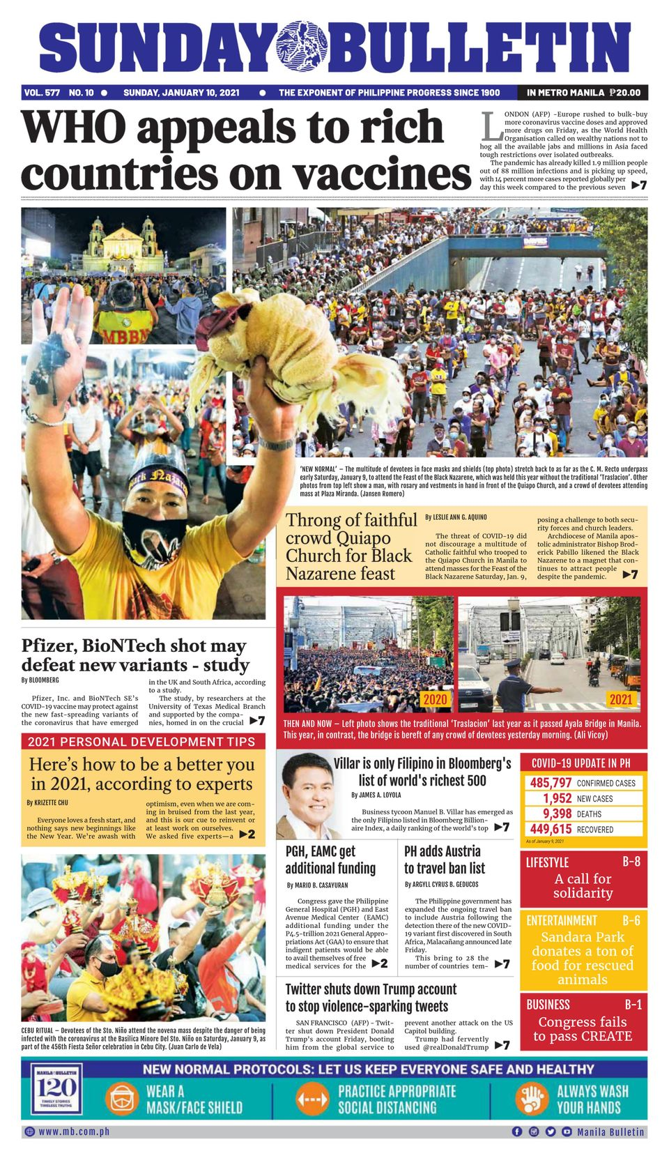 Manila Bulletin-January 10, 2021 Newspaper - Get your ...