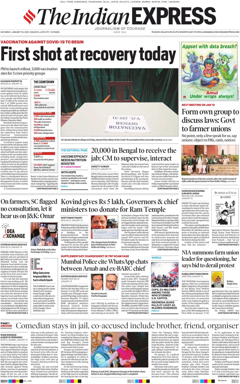 The Indian Express Kolkata-January 16, 2021 Newspaper