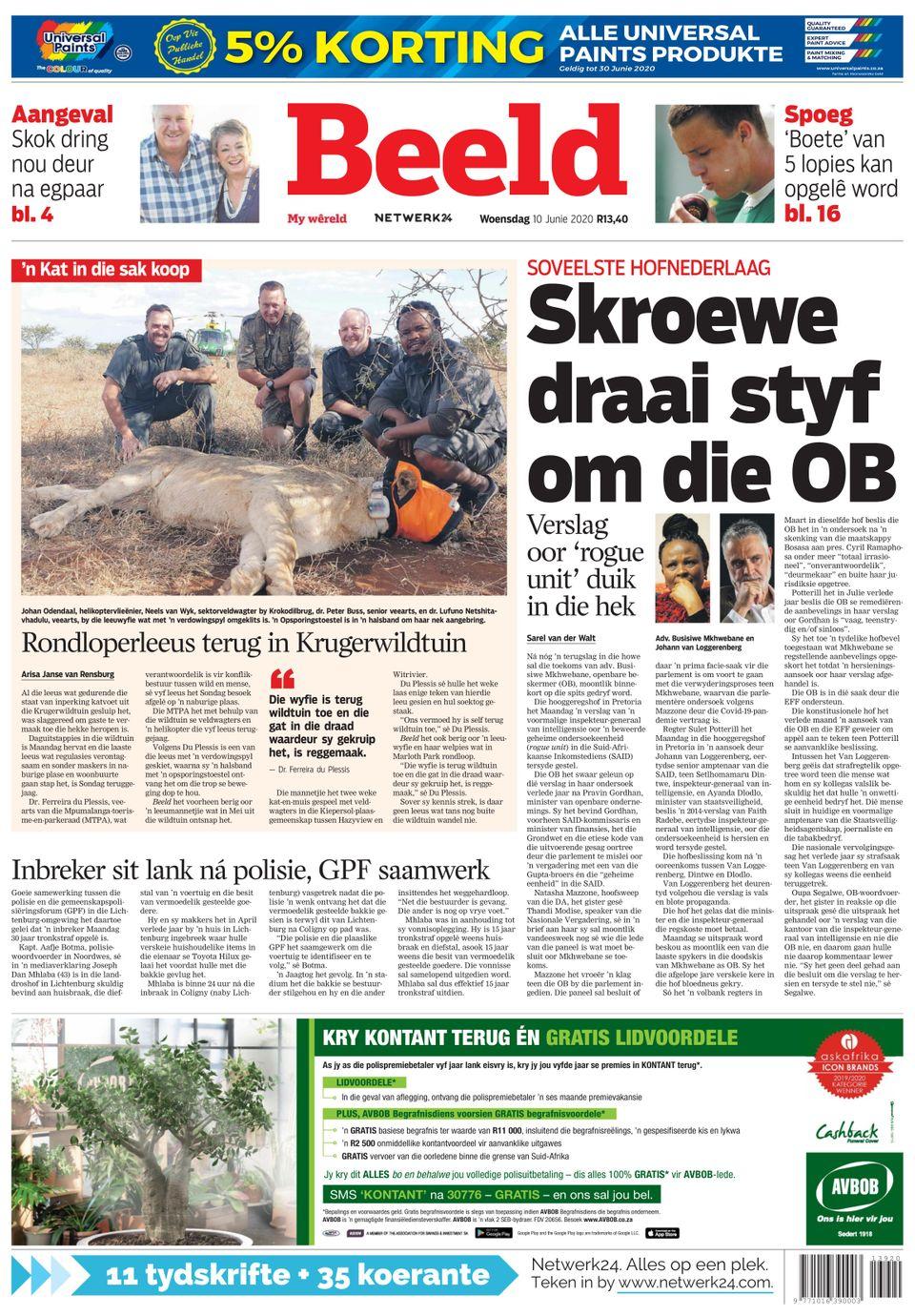 Beeld-june 10  2020 Newspaper