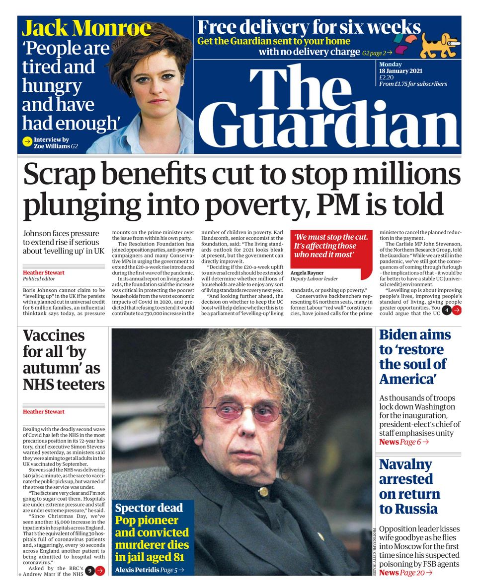 The Guardian-January 18, 2021 Newspaper - Get your Digital